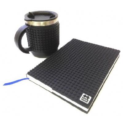 Kreatives SET - Pixel Notizbuch mit Umschlag in schwarz + Pixel Thermotasse in schwarz