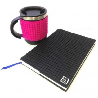 Kreatives SET - Pixel Notizbuch mit Umschlag in schwarz + Pixel Thermotasse violette