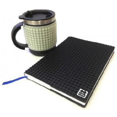 Kreatives SET - Pixel Notizbuch mit Umschlag in schwarz + Pixel Thermotasse fluoreszierendes grau