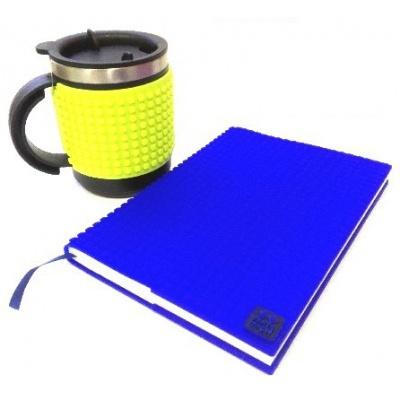 Kreatives SET - Pixel Notizbuch mit Umschlag in blau + Pixel Thermotasse in neongrün