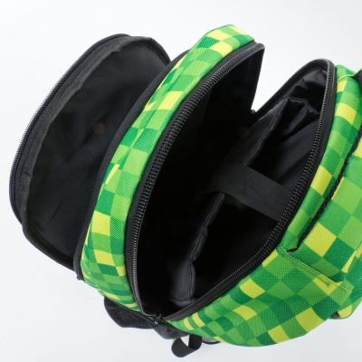 Kreativer Pixel Schulrucksack mit Federmappe grüner Würfel PXB-16-08