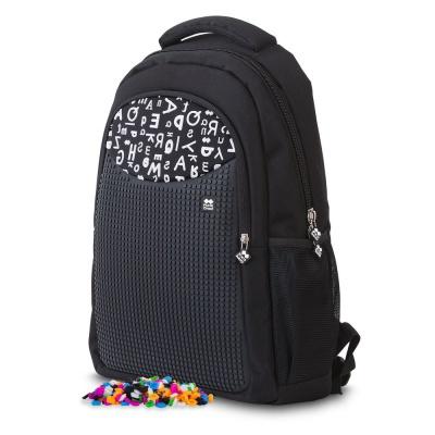 Kreativer Pixel Schulrucksack mit Federmappe schwarzes ABC PXB-16